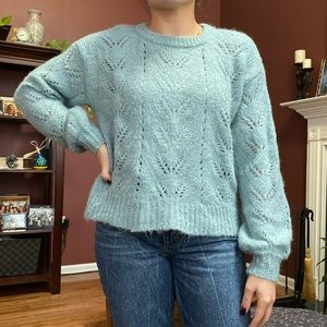 American Eagle pointelle knit puff-sleeve sweater